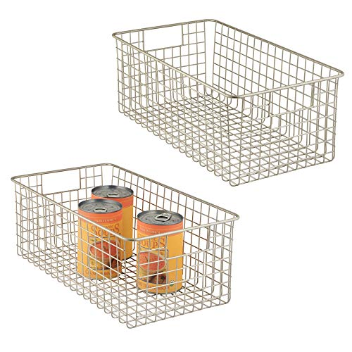 mDesign Farmhouse Decor Metal Wire Food Organizer Storage Bin Baskets with Handles for Kitchen Cabinets, Pantry, Bathroom, Laundry Room, Closets, Garage - 16 x 9 x 6 in. - 2 Pack - Satin