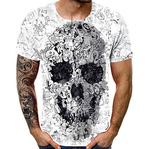 JURTEE Men's New Summer T-Shirt with Round Neck Loose Short Sleeve Skull 3-D Printed Top