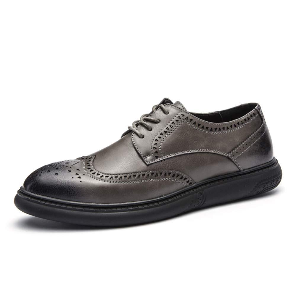 Hilotu Clearance Men's Casual Soft Bottom Regular Cotton Warm Brogue Shoes Wingtip Comfort Formal Business Oxfords (Color : Gray, Size : 7.5 D(M) US)
