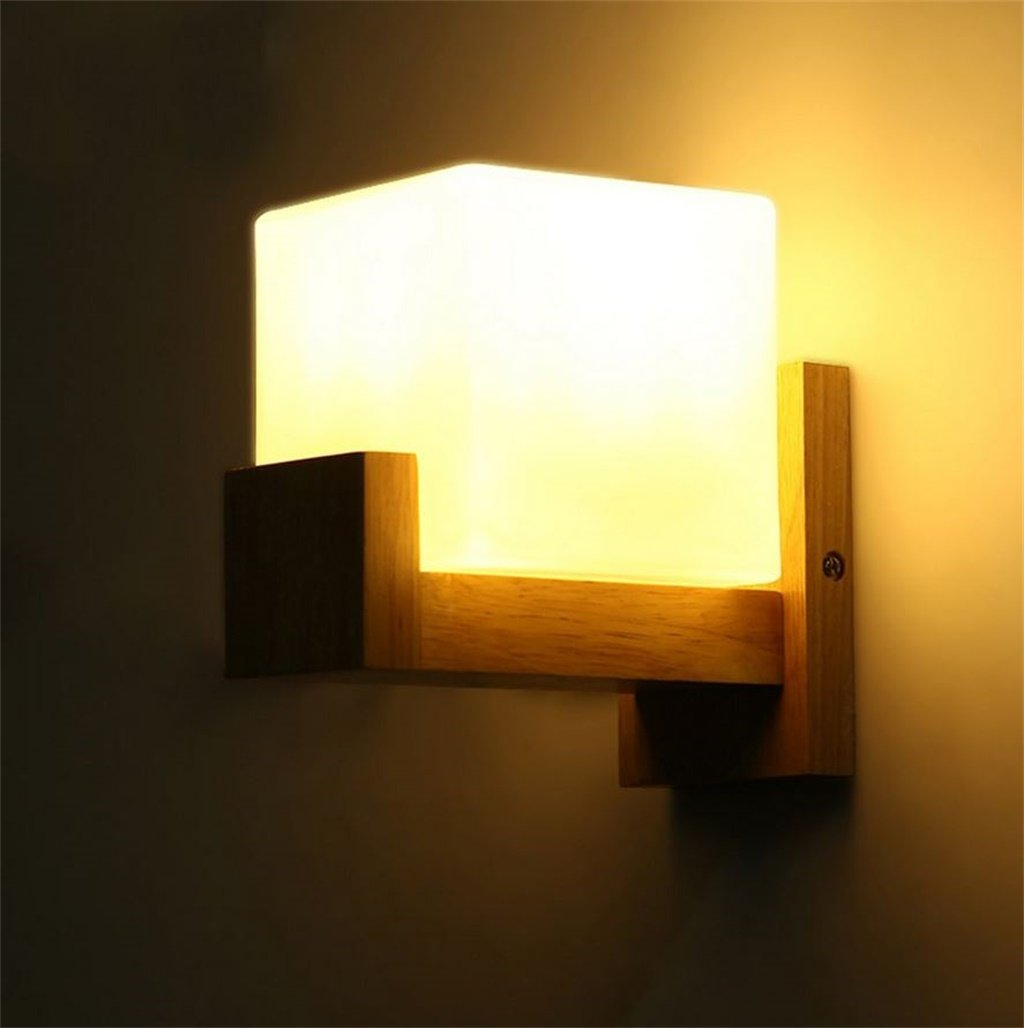 FANDBO@ Nórdico Europea Minimalista de Madera de Roble Lámpara de Pared Dormitorio Cama LED E27 Pared de luz FANDBO lamps Monolopy