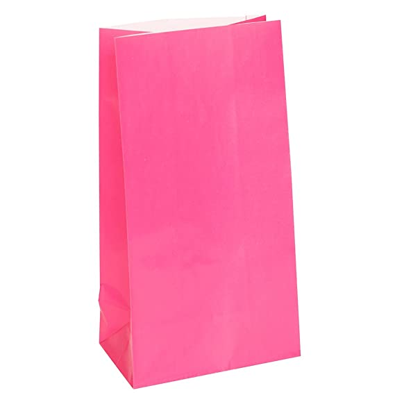 Hot Pink Paper Party Favor Bags, 12ct