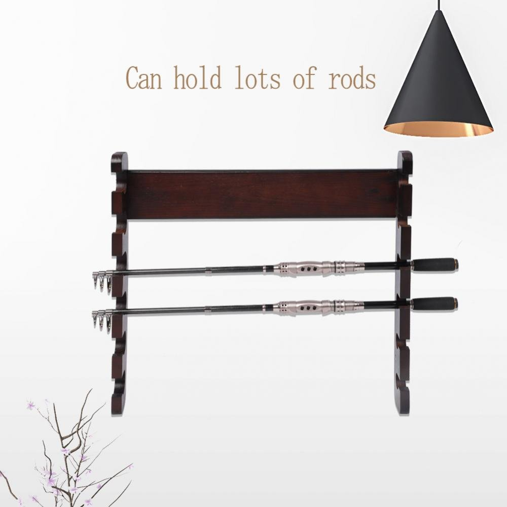 Alomejor Angelrute Wandhalter Einfache Holz Wand Boden Mount Pole Stand Carrier f/ür Angelrute Lagerung