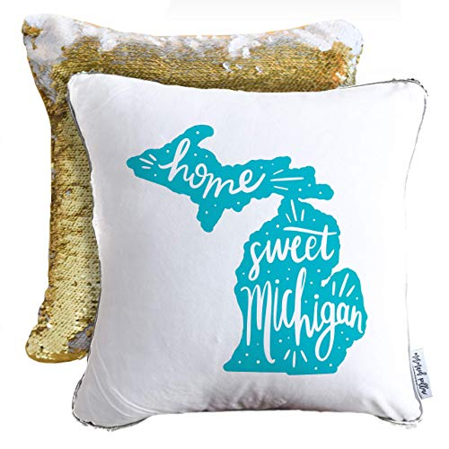 Home Sweet Michigan Hand Lettered Mermaid Pillow w/Gold & White Sequins (Includes Pillow Insert)
