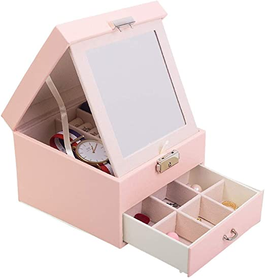 LHZHG Caja Joyero con Espejo Caja para Joyas joyero Caja de Joyas ...