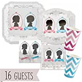 Gender Reveal - Baby Reveal Party Tableware Plates, Cups, Napkins - Bundle for 16