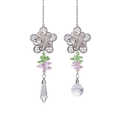 Crystal Suncatchers Chakra Metal Flower Hanging Pendant Prism Windows Decorations Pack of 2 : Garden & Outdoor