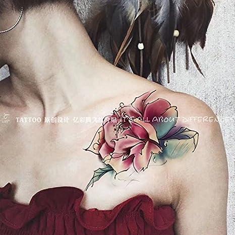 Oottati 2 Hojas Cofre Rosas Clavícula Sexy Tatuajes Temporales ...