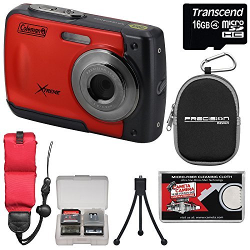 coleman-xtreme-c20wp-shock-waterproof-hd-digital-camera-red-with-16gb-card-case-floating-strap-tripo