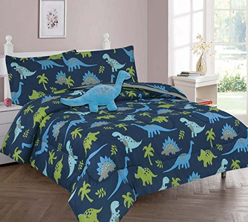 Elegant Home Multicolor Dark Blue Green Dinosaurs Jurassic Park Design 6 Piece Twin Comforter Bedding Set for Boys / Kids Bed In a Bag With Sheet Set & Decorative TOY Pillow # Dinosaurs Blue (Twin)