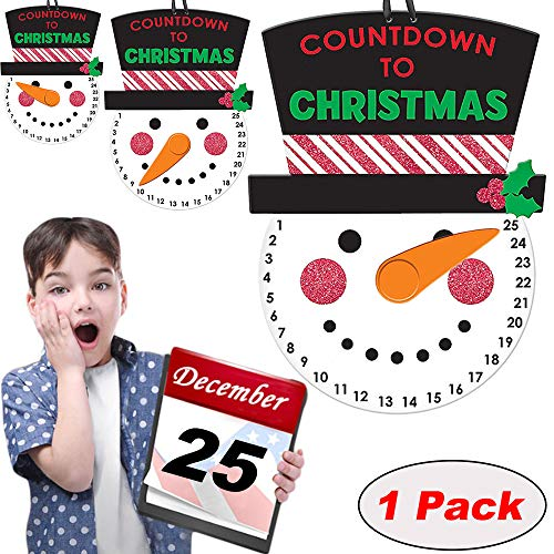 """Macute Christmas Advent Calendar Countdown to Christmas Hanging Wall Snowman Calendar Sign with Black Hat and Rotating Nose Pointer Door Decor Window Display for Kids and Adults 1 Pack 9.84""""6.69"""""""