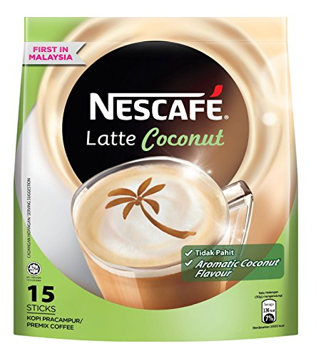 1 PACK NESCAFÉ Latte Coconut Instant Coffee Powder - 15 sachets x 30gm – Delicious Aromatic Creamy Non-Bitter PreMix Coffee with Coconut flavor – GET IN ONE WEEK – FREE EXPRESS SHIPPING