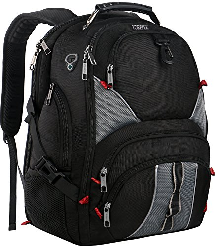 Travel Backpacks for Men,17 Inch Laptop Backpack,Large TSA Friendly Durable Computer Backpack with Luggage Sleeve for High School,Water Resistant College School Bookbag with USB Charger Port, Black