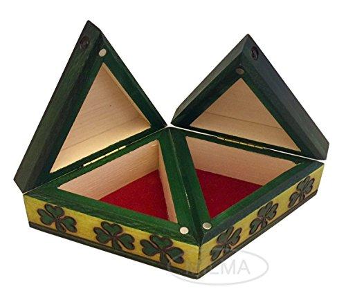 Celtic Double Shamrock Box Triangular Shaped Handmade Wooden Celtic Trinity Knot Wedding Jewelry ()