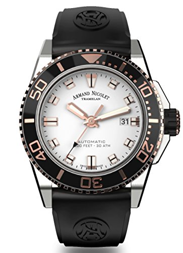 Armand Nicolet Men's Diver Automatic Watch Black Rose Gold Tone with Rubber Bracelet A480ASN-AS-GG4710N