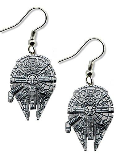 Star Wars Millenium Falcon Dangle Earrings Gift Box Included (Star Wars Lightsaber Earrings)
