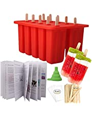 Homemade Popsicle Molds Shapes, Food Grade Silicone Frozen Ice Popsicle Maker-BPA Free, with 62 Popsicle Sticks 50 Popsicle Bags(10 Cavities)