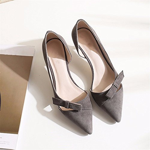 Nouvelles De Chaussures Femmes Hauts Chaussures À Chaussures Automne Ses Seul HXVU56546 Talons Talons Gray Minces Fait 1f5qgw
