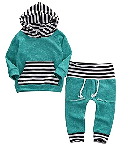 Baby Little Girls Long Sleeve Striped Pocket Hoodie Top and Pants Outfit (0-6M, Green)