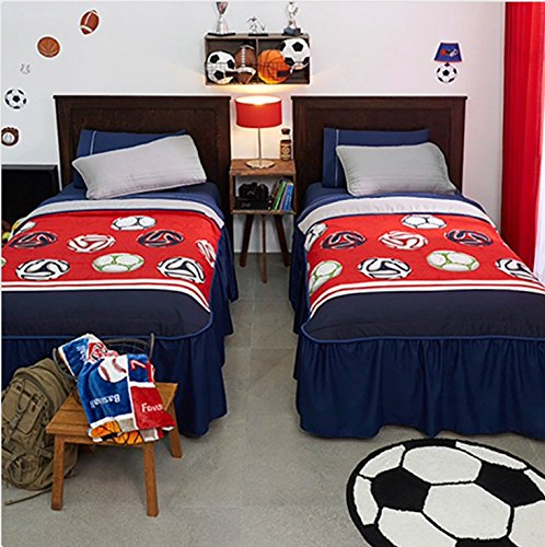 NEW PRETTY COLLECTION BALLS (SOCCER) TEENS BOYS REVERSIBLE BEDSPREAD SET 4 PCS FULL SIZE by JORGE'S HOME FASHION
