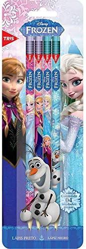 Lápis Preto Com Borracha - Cart C/4 Un - Frozen