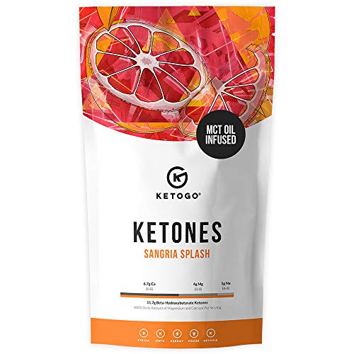 Ketogo Exogenous Ketones with Creamy MCT Oil Powder - Fruity Sangria Splash, 30 Servings. Lose Weight & Feel Great, Kick-Start Ketosis, 11.7g Beta-Hydroxybutyrate Per Serving, Boost Energy & Focus. ()