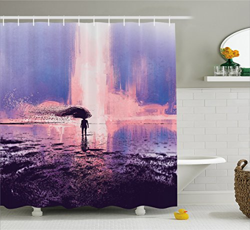 Fantasy Art House Decor Shower Curtain by Ambesonne, Trippy Spiritual Girl in Wind with Blowing Long Hair on the Water, Fabric Bathroom Decor Set with Hooks, 70 Inches, Pink Blue