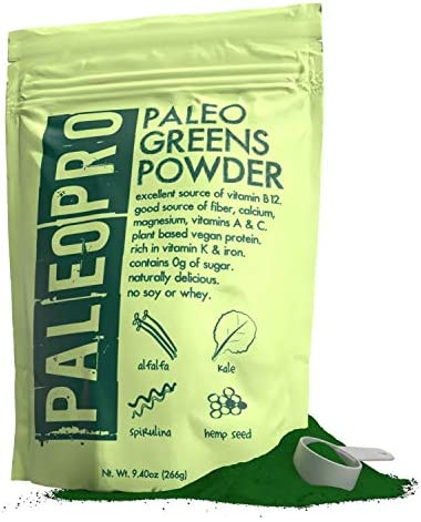 PaleoPro Paleo Greens Powder, Plant-Based Vegan Protein Powder, Vitamin B12, Keto Ingredients, Gluten-Free, Good Source of Fiber, Calcium, Magnesium, Vitamins A C, Vitamin K Iron, No Sugar, 9.4oz