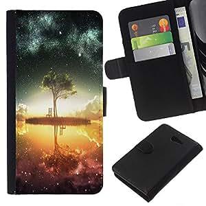 KLONGSHOP // Tirón de la caja Cartera de cuero con ranuras para tarjetas - Psychedelic Galaxy Espacio - Sony Xperia M2 //