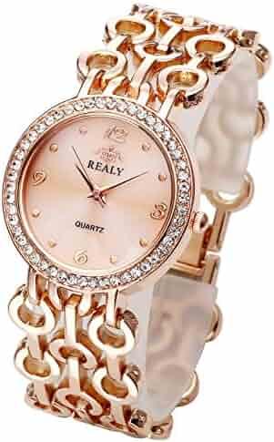 5bdb9a864594c Top Plaza Women Elegant Fashion Bracelet Analog Quartz Watch Rose Gold Tone  Rhinestone Case Big Face