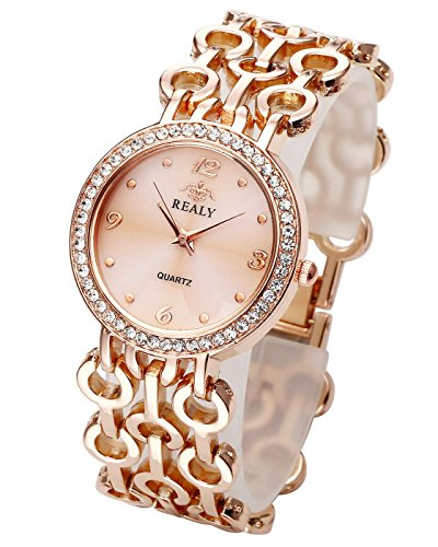 Top Plaza Women Elegant Fashion Bracelet Analog Quartz Watch Rose Gold Tone Rhinestone Case Big Face Large Dial Wide Band Waterproof Cuff Watch