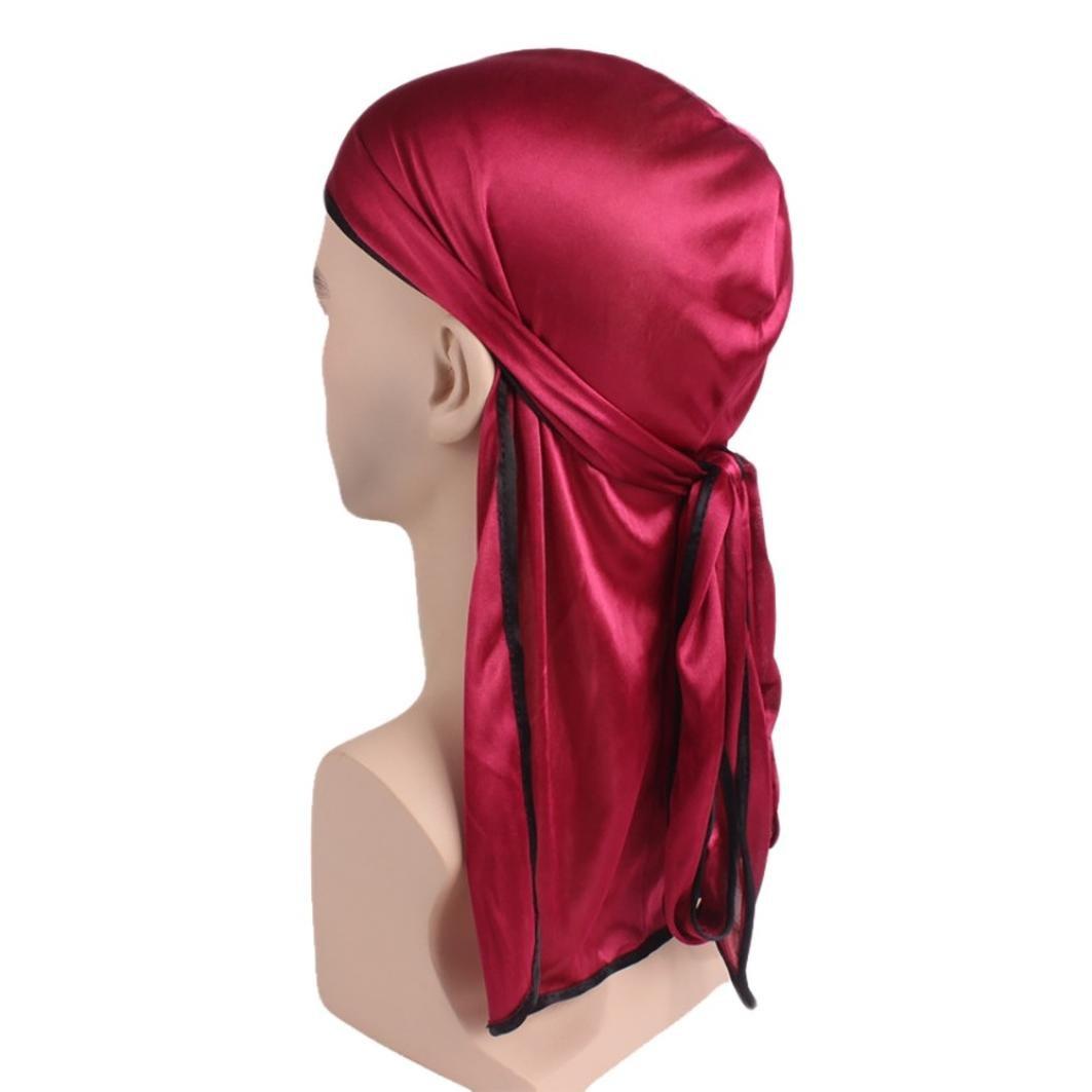 Y56 Unisex Mens Womens India Islamic Muslim Elastic Turban Silk Smooth Long Tail Hat Chemo Cap Stretch Hijab Head Beanie Scarf Wrap
