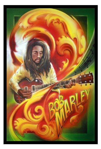Bob Marley With Guitar Color Drawing Musician