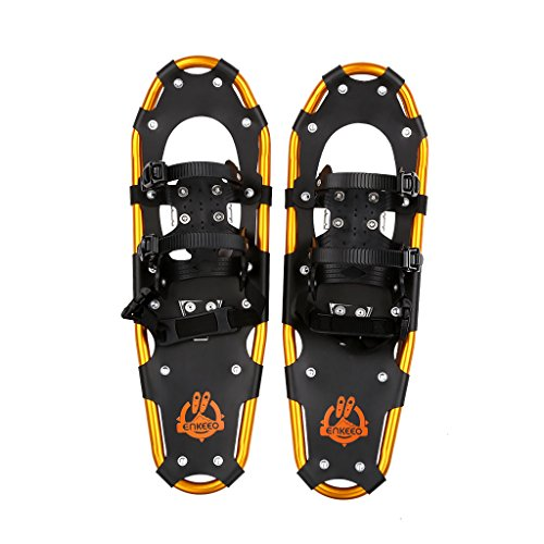 Enkeeo Light Weight Aluminum Alloy Terrain Snowshoes Kit with Carry Bag, Adjustable Ratchet Bindings, 210lbs. Capacity, Black and Orange, 30 inches