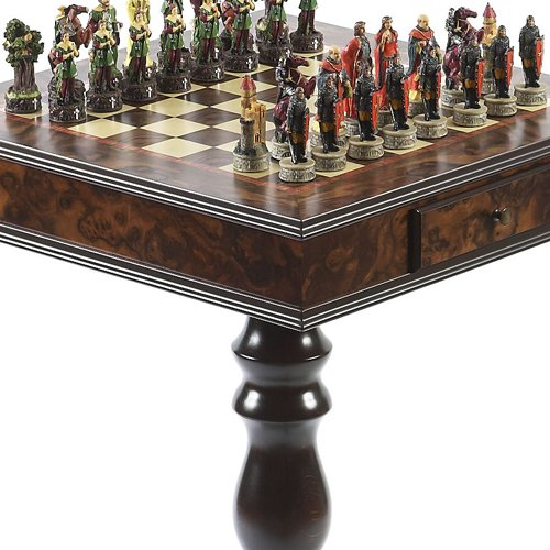 (Robin Hood & the Sheriff of Nottingham Hand Painted Chessmen & Frizoni Chess Table from Italy)
