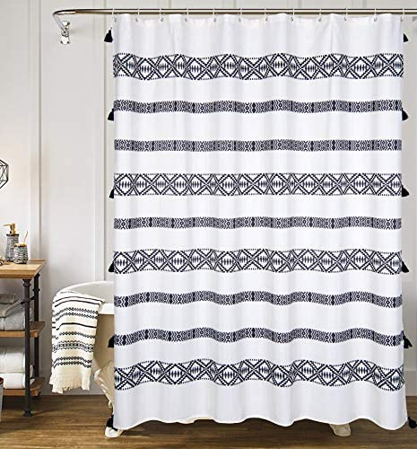 yokii tassel fabric shower curtain black and cream stripe print boho polyester bath curtain set with hooks decorative spa hotel heavy weighted