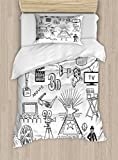Ambesonne Movie Theater Twin Size Duvet Cover Set, Hand Drawn Symbols of Hollywood Oscar 3D Glasses Sketch Style Arrangement, Decorative 2 Piece Bedding Set with 1 Pillow Sham, Black White