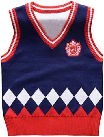 Happy Cherry Kids Boys V Neck Sweater Vest Argyle Soft Pullover Waistcoat