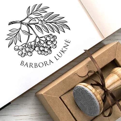 Sellos Personalizados, Rama Árbol Serbal, Ex libris, Bayas Frutos Serbal Rojos Hojas, Sorbus Aucuparia, Caja Kraft Regalo Único