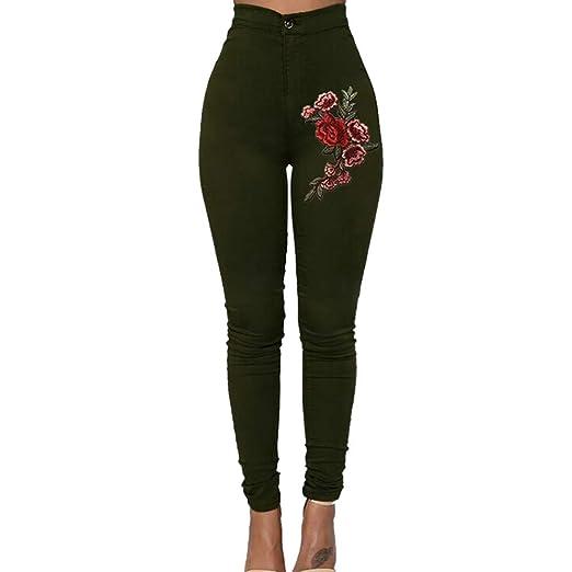 0a3d7f248c ZEFOTIM Fashion Sexy Women Skinny Floral Applique Jeans High Waist Stretch  Pencil Pants (S