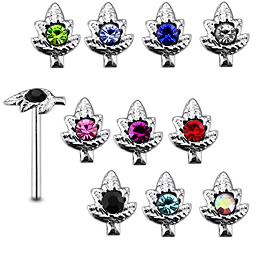 20 Pieces Mix Color Jeweled Marijuana Leaf 925 Sterling Silver Nose Pin Straight End 20Gx5/16 (0.8x8MM). Pack in Acrylic Box.