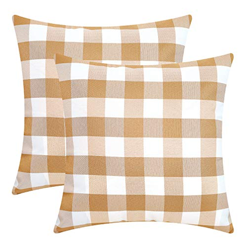 (SONCA Buffalo Plaid Pillow Covers Comfy Ploster Set of 2 Throw Pillow Covers Checkered 18 x 18 Farmhouse Decor Square Outdoor Decorative Classic Cushion Cases for Couch Sofa Bedroom Mocha)