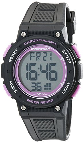 Marathon by Timex Unisex TW5K84700 Digital Mid-Size Black/Purple Resin Strap Watch