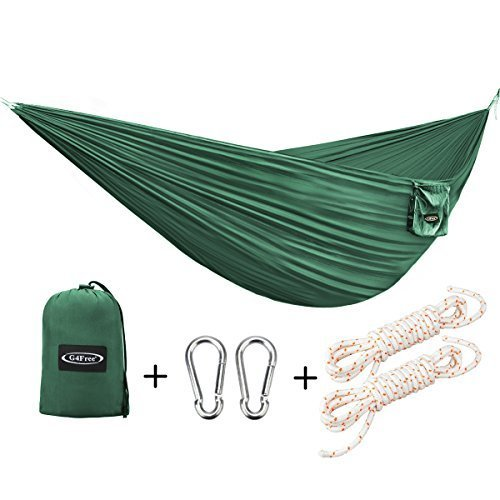 G4Free Portable Hammock - Lightweight Nylon Fabric Parachute Hammock for Outdoor Camping, Hiking,Travel, Hammock Ropes & Steel Carabiners Included (Dark Green)