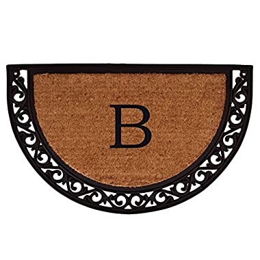 Home & More 100101830B Ornate Scroll Doormat, 18  x 30  x 1 , Monogrammed Letter B, Natural/Black