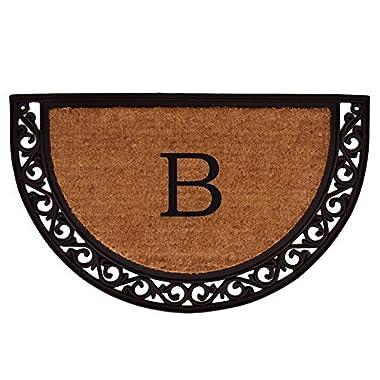 Home & More 100101830B Ornate Scroll Doormat, 18  x 30  x 1 , Monogrammed Letter B, Natural/Black