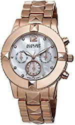 August Steiner Women's AS8107RG Swiss Quartz Crystal Mother-of-Pearl Rose-tone Watch