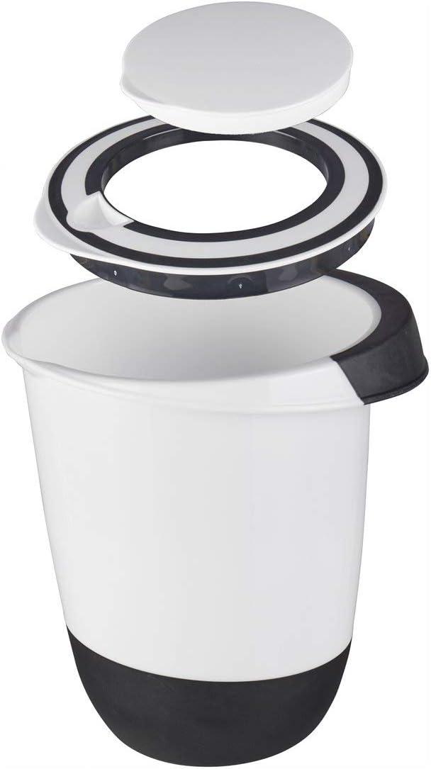 Unbekannt Bol para Mezclar con Tapa, 1,5 litros, Apertura para Remover, Base de Parada, protección contra Salpicaduras, Bol de 1,5 L, Recipiente para conservas, Blanco y Negro
