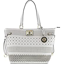 Christian Lacroix Womens Renee Perforated Faux Leather Tote Handbag
