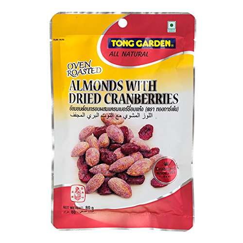 Tong Garden, Oven Roasted Almonds with Dried Cranberries, net weight 80 g (Pack of 2 -