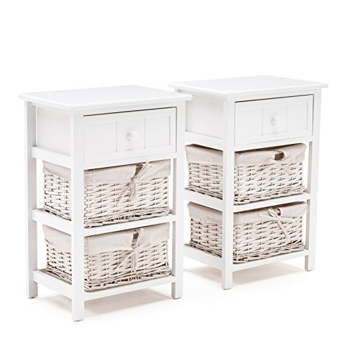 Mecor Set of 2 Nightstand White,Wood Beside End Side Table for Bedrooms,3 Layer with 1 Drawer and 2 Wicker Baskets ()